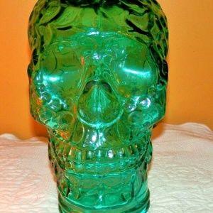 """LG MANNEQUIN SKULL HEAVY GLASS GREEN 11"""" H X 6.5"""""""